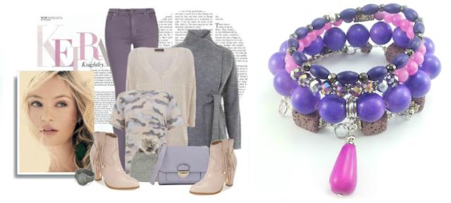 Zestaw bransoletek we fiolecie i różu z kamieniami fiołkowej lawy wulkanicznej, fioletowego i różowego marmuru, sopla howlitu i ametystowych kryształków.