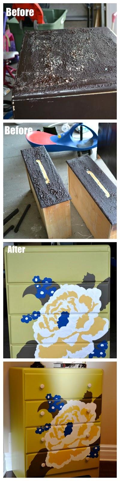Tallboy makeover, dresser makeover, painted dresser, painted tallboy, refinished furniture