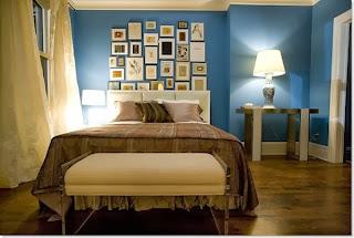 Dormitorio marrón azul