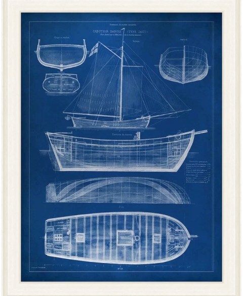 Ship Blue Prints for Nautical Wall Decor