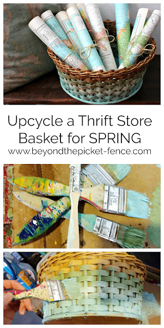 easy DIY ombre paint technique to update a thrift store basket for spring