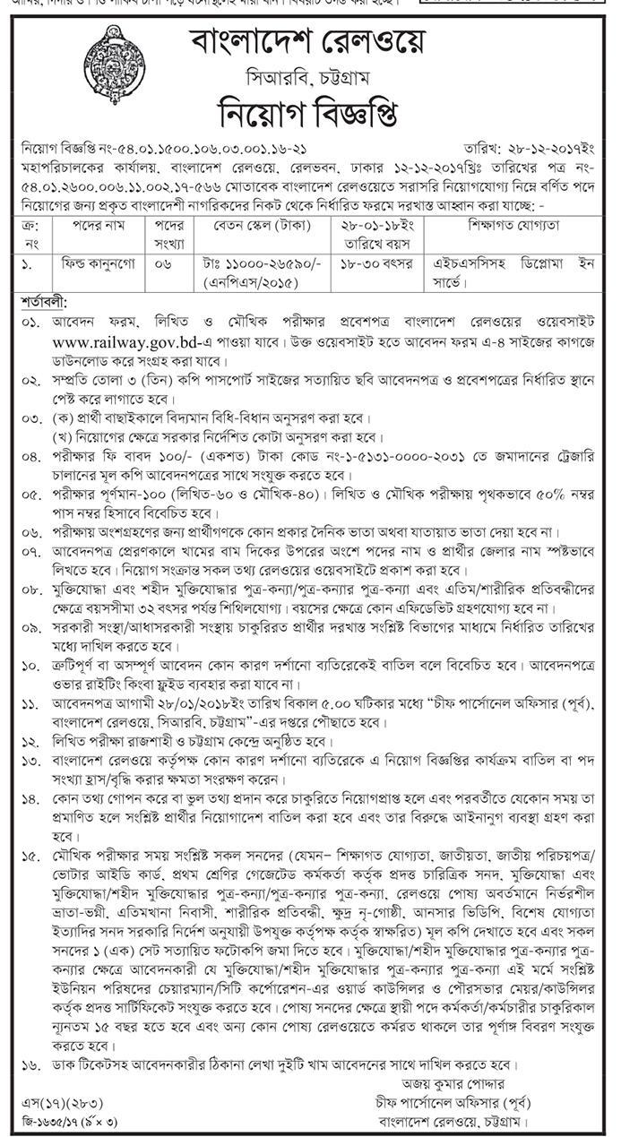 Bangladesh Railway CRB Chittagong Field Kanongo Job Circular 2017
