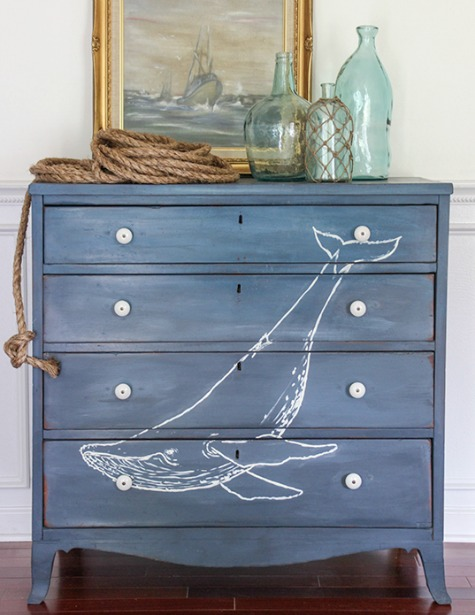 Whale Painted on Dresser
