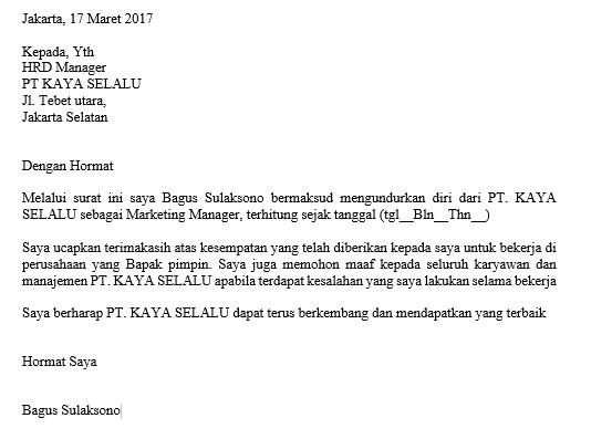 Contoh Surat Resign Pt Indomarco Prismatama