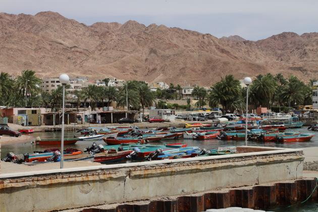 Boats moored at Aqaba Harbour, Jordan