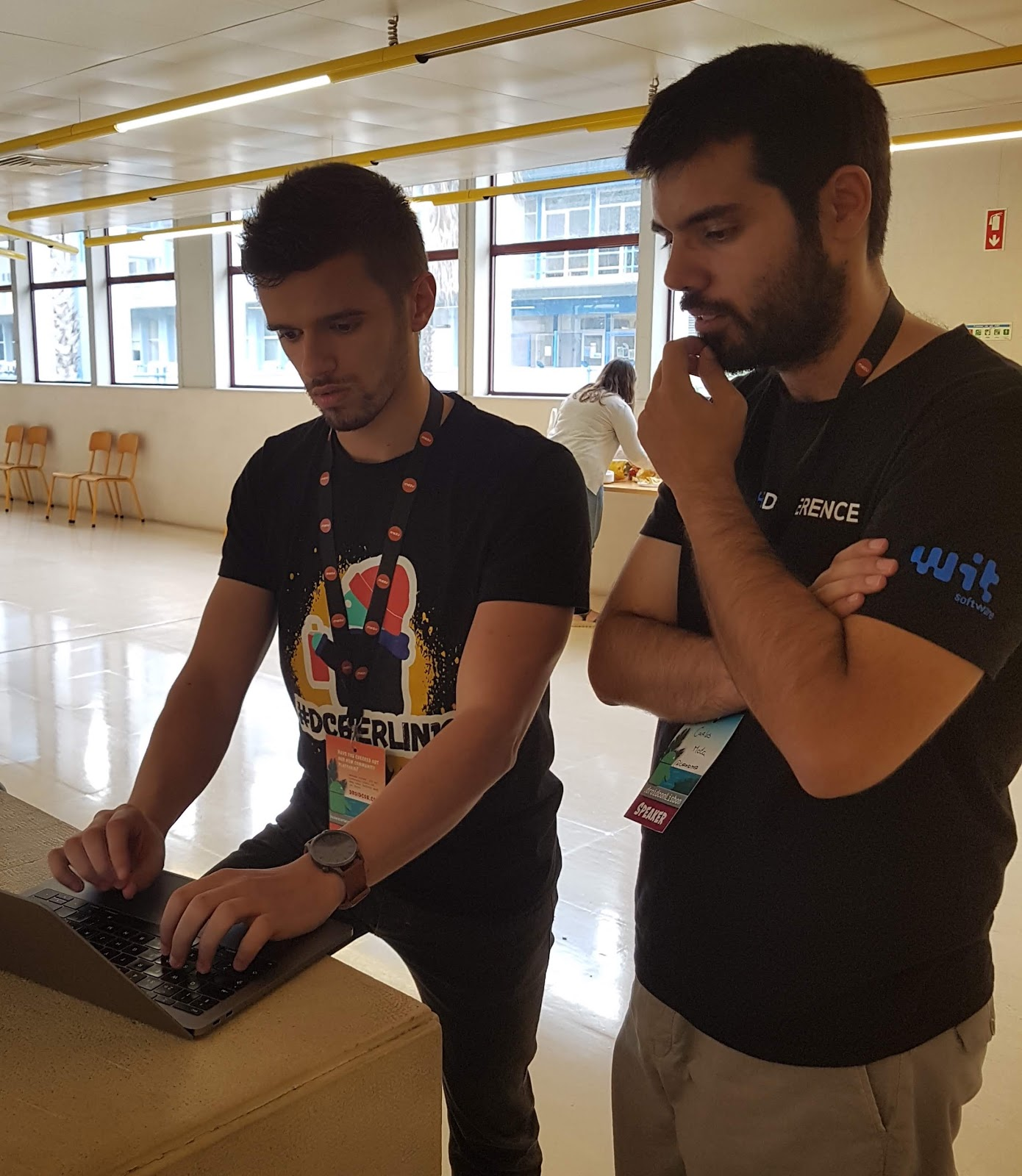 Ricardo on the left with fellow GDG lead planning DevFest Coimbra
