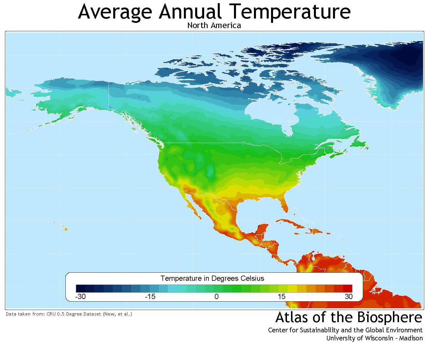 North America average annual temperature