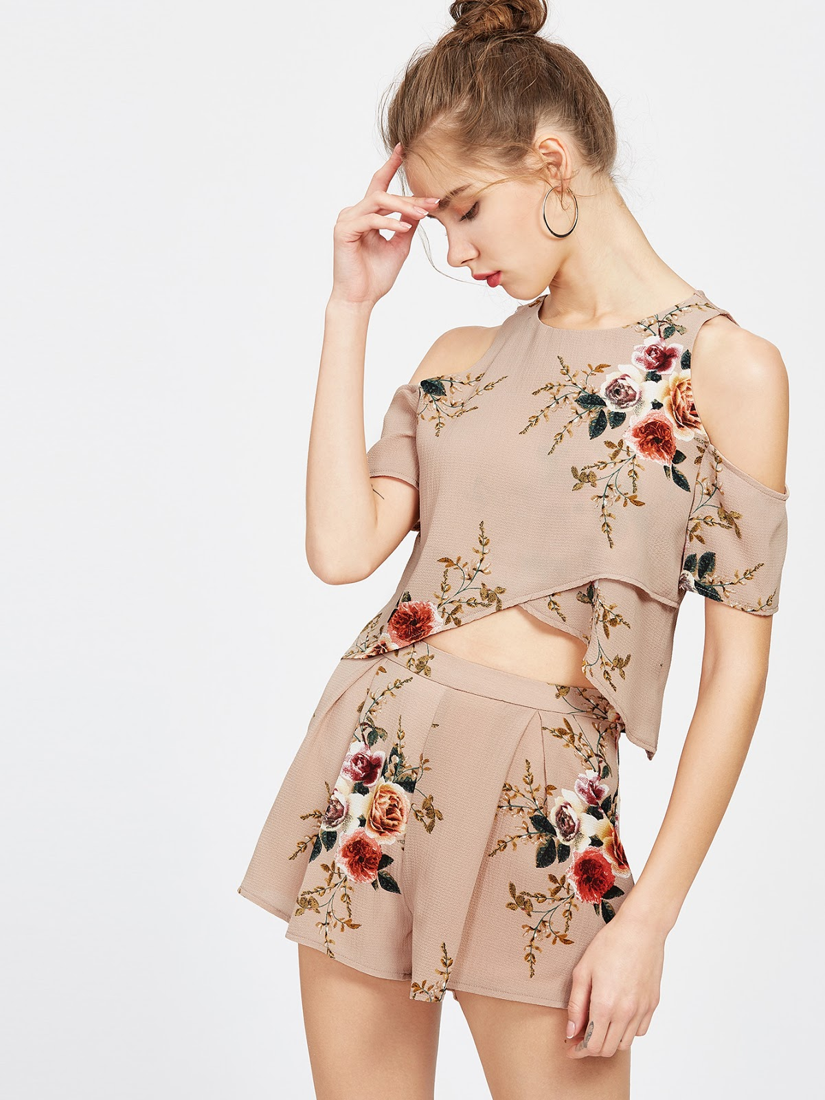 floral playsuit shein