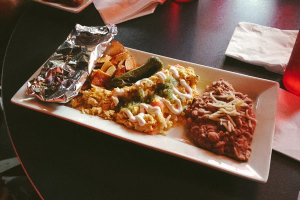 Killer Chilaquiles at Brunch at the Lipstick Lounge in Nashville Tennessee