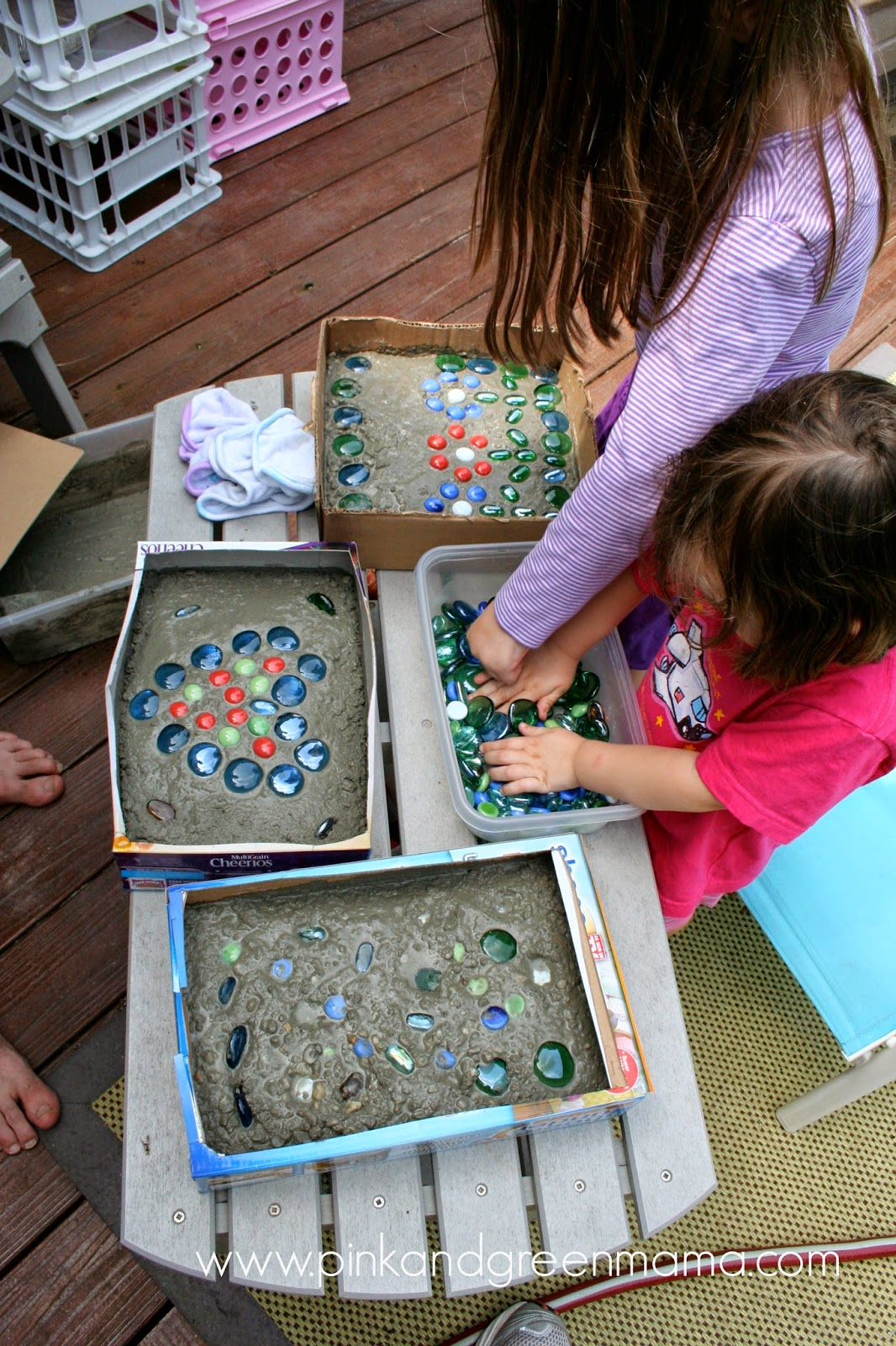Awesome He Poured It Into The Boxes, Then The Girls Added Glass Stones.