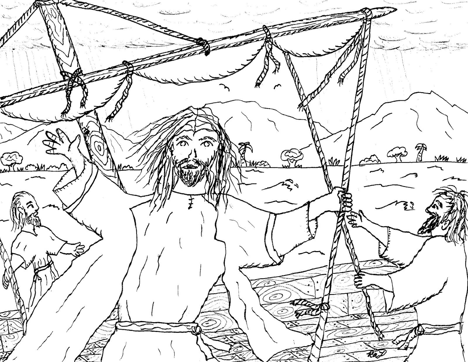 Robin\'s Great Coloring Pages: Jesus Calms the Stormy Sea