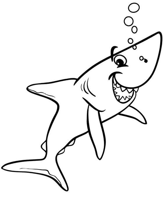 Tranh tô màu con cá mập