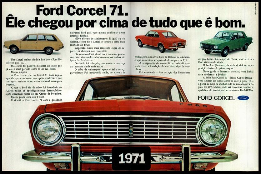 Propaganda antiga do Corcel com sua linha para o ano de 1971