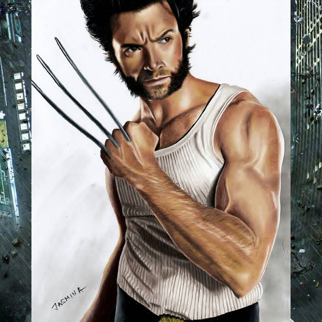 09-Hugh-Jackman-as-Wolverine-Jasmina-Susak-Superheroes-and-Villains-in-2d-and-3d-Drawings-www-designstack-co