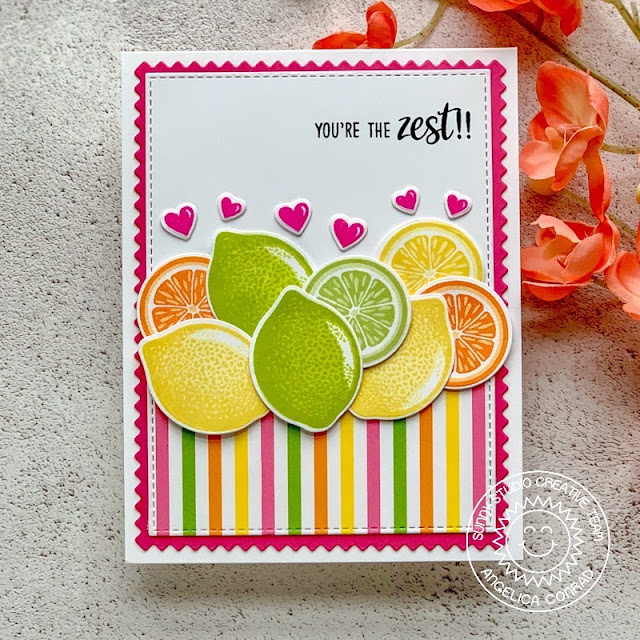 Sunny Studio Stamps: Slice Of Summer Fruit Cocktail Frilly Frames You're The Zest Punny Cards by Juliana Michaels and Angelica Conrad