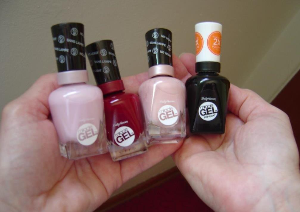 Sally Hansen's Royal Splendor Miracle Gel Nail Polishes of Plush Blush, Can't Take Back Royalty, Regal Rose, and Top Coat.jpeg