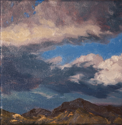 Clouds, atmospheric, storm, stormy, landscape, Angeles Forest, small painting