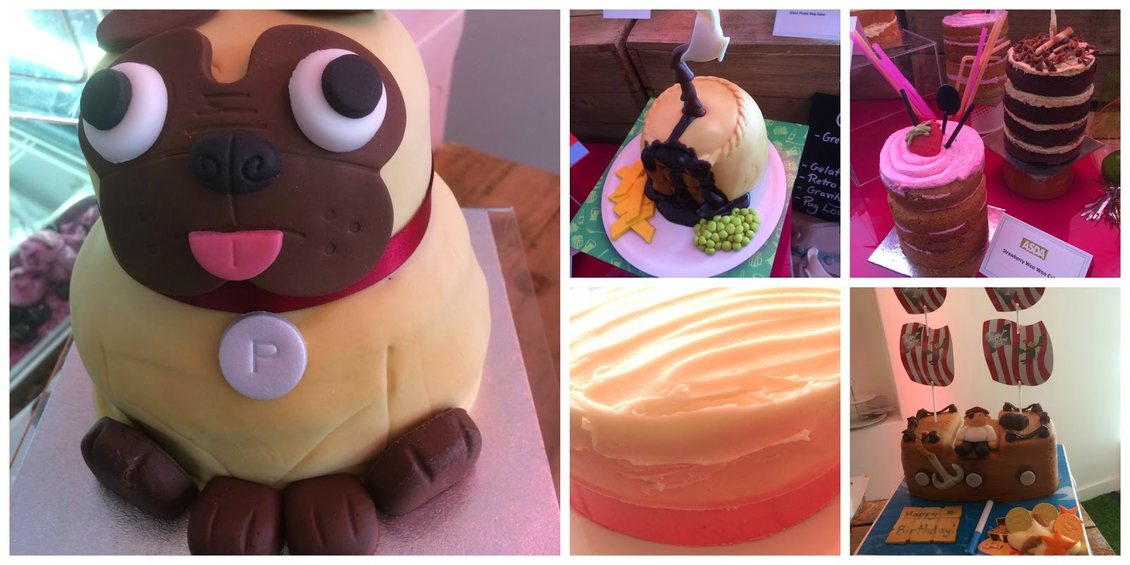 asda cakes pug cake, cocktail cake, pirate cake, ombre cake, gravity defying cake