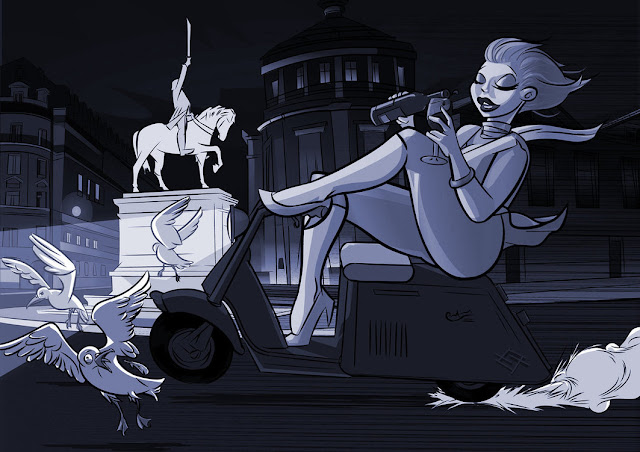 Paris Scooter Girl Noir