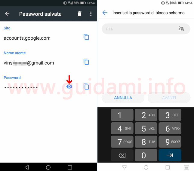 Chrome Android pulsante per vedere password salvata