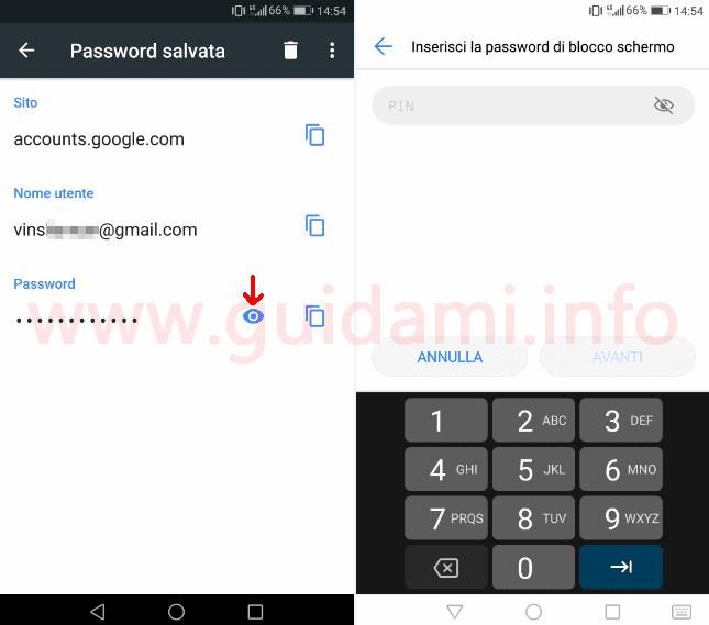 Chrome Android pulsante per vedere password salvata