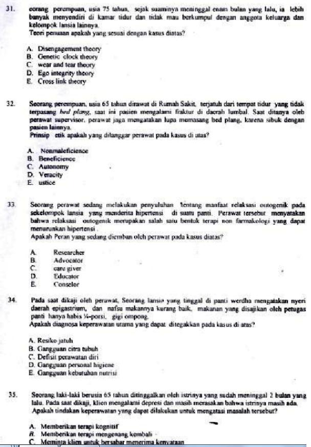 Contoh Soal Tes Kompetensi Bidang Perawat Keperawatan