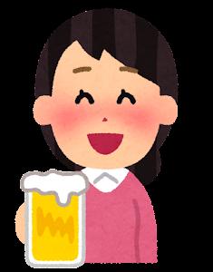酔っぱらいのイラスト(女性・笑った顔)