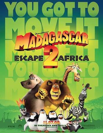 Poster Of Free Download Madagascar: Escape 2 Africa 2008 300MB Full Movie Hindi Dubbed 720P Bluray HD HEVC Small Size Pc Movie Only At worldfree4u.com