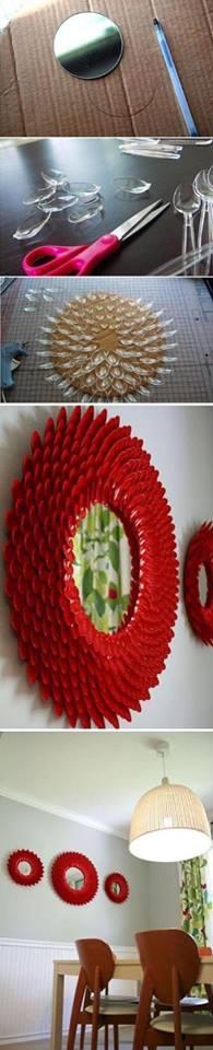 manualidad con espejo mas cucharas de plastico recicladas