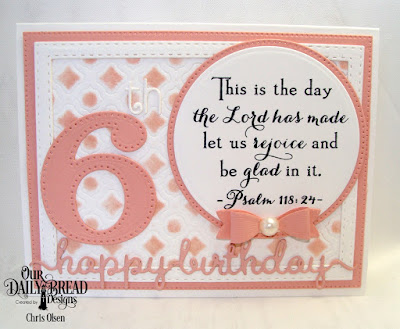 Our Daily Bread Designs Stamp Set: Celebration, Custom Dies: Large Numbers,Pierced Circles, Circles, Mini Bow, Boho Background, Double Stitched Rectangles, Pierced Rectangles,, Happy Birthday Script