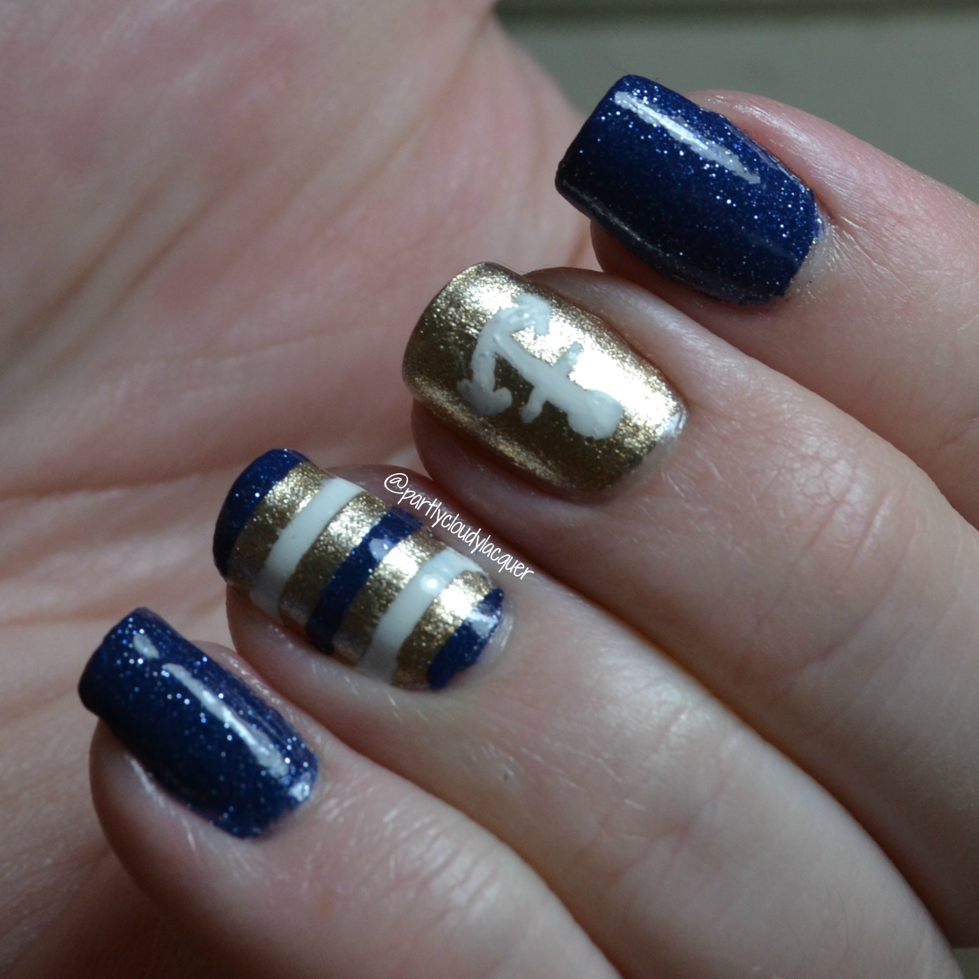 Navy and Gold Nautical Nails | Partly Cloudy With a Chance of Lacquer