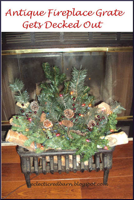 Eclectic Red Barn: Decorated antique cast iron fireplace grate for Christmas