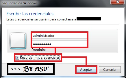 Completando los datos de login y password