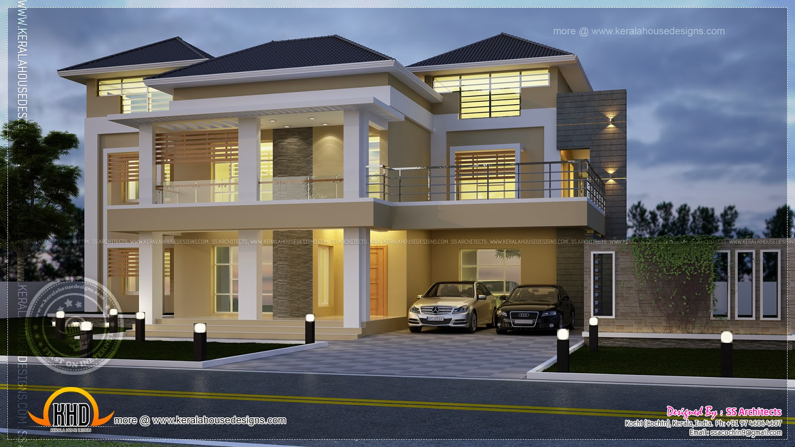 Modern villa night view elevation kerala home design and for Contemporary villa plans