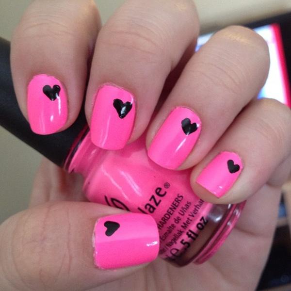 Neon Pink Nail Art - Creative Nail Design