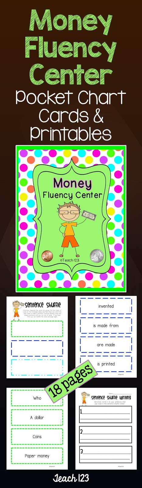 Teach 123 Money Fluency Center at TeachersPayTeachers