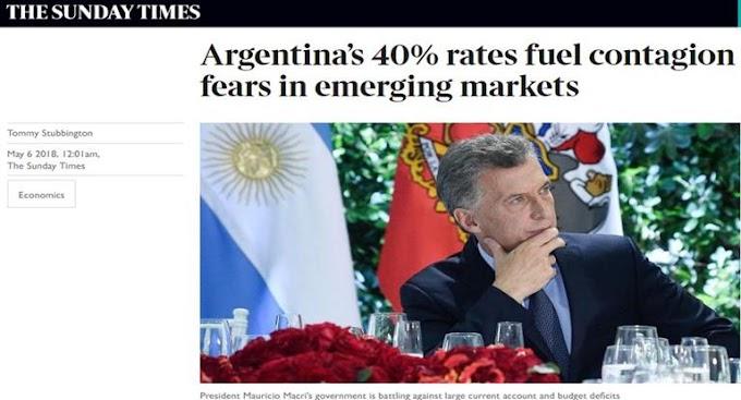 """Para prensa británica, Argentina está """"en primera línea de una posible crisis en los mercados emergentes"""""""