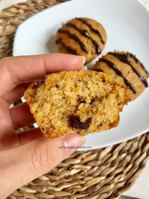interior del muffin de calabaza