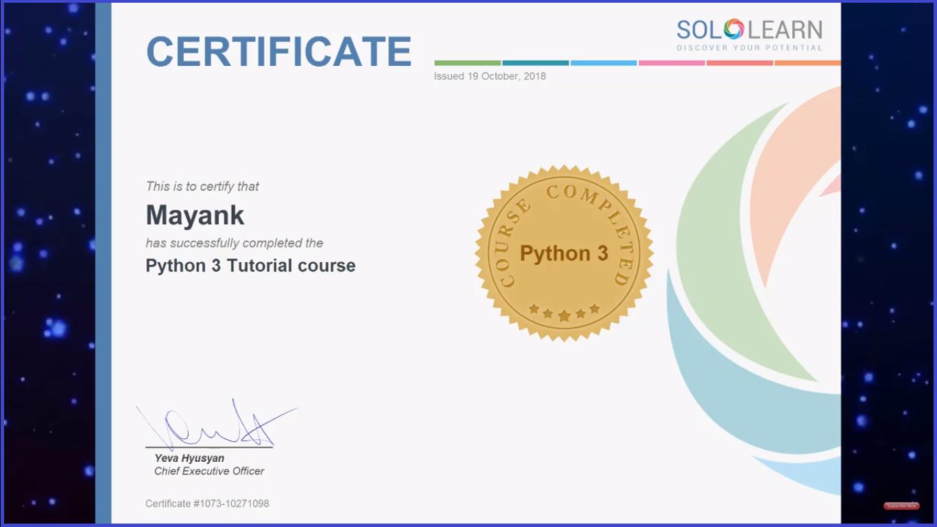 Free Python Certification online 2019 - Python Ninja boot camp
