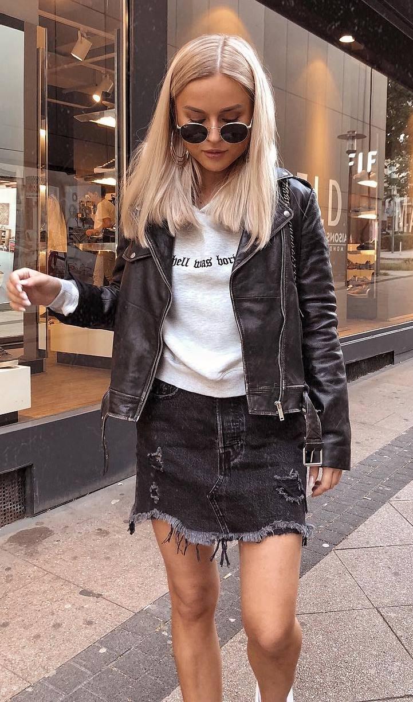 ootd_moto jacket + sweashirt + black denim skirt