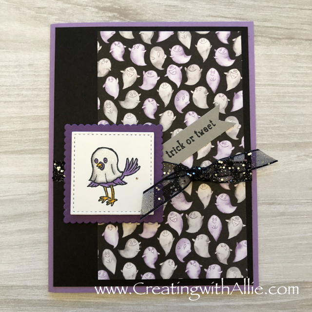 Check out the video tutorial showing you how to make this cute halloween card using the Toil and Trouble designer series paper and the trick or tweet stamp set!  You'll love how quick and easy this is to make!  www.creatingwithallie.com #stampinup #alejandragomez #creatingwithallie #videotutorial #cardmaking #papercrafts #handmadegreetingcards #fun #creativity #makeacard #sendacard #stampingisfun #sharewhatyoulove #handmadecards #friendshipcards #halloweencards