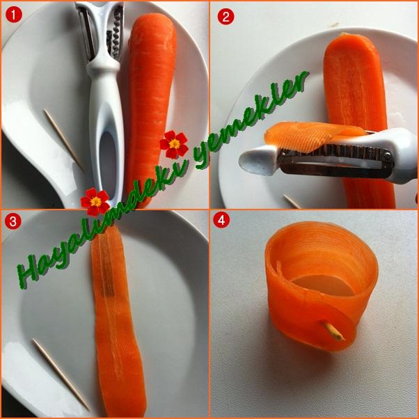 Havucla Değişik Süslemer,degisik sekillerde salata tarifleri