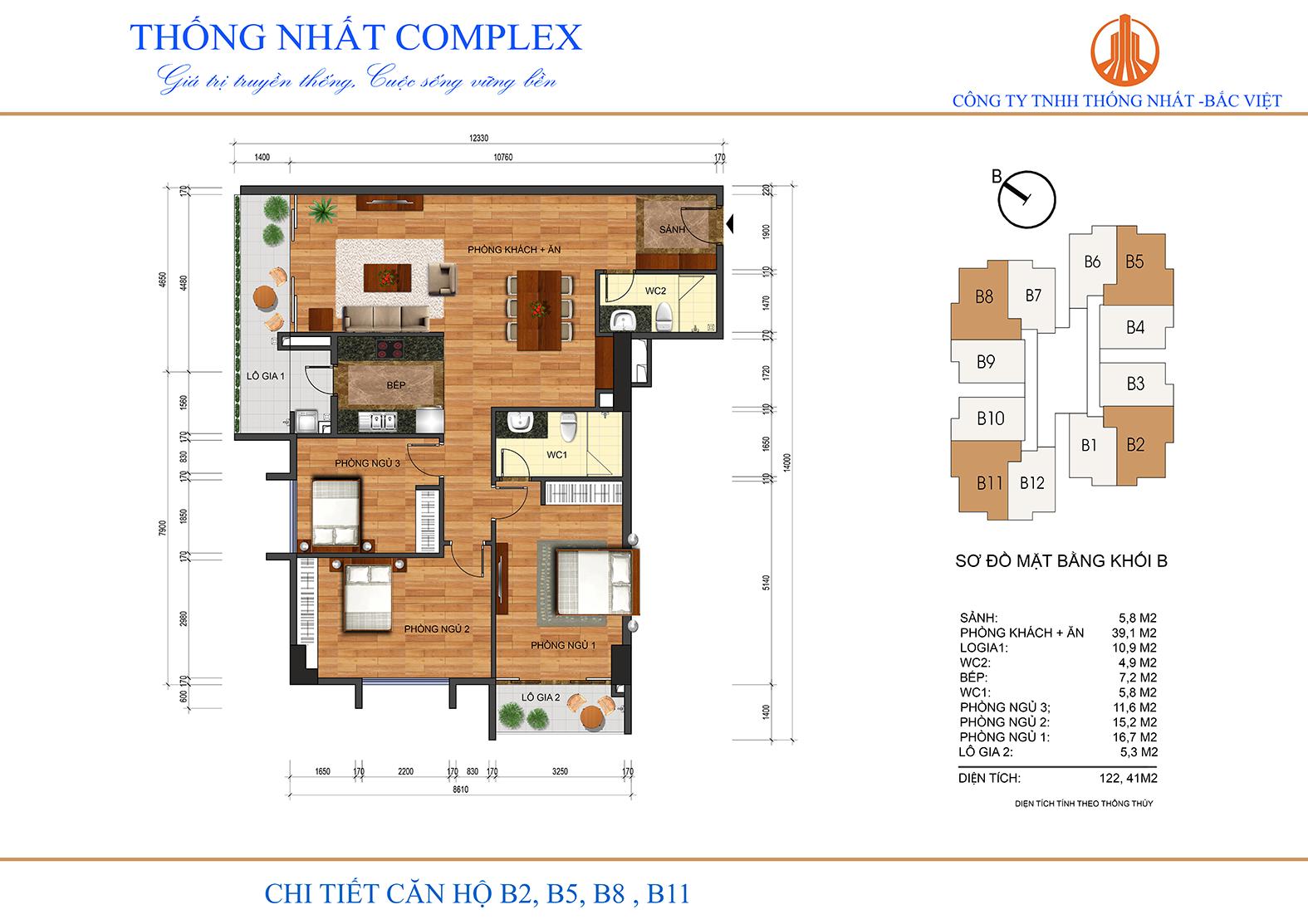 Thiết kế chi tiết căn hộ 122m2 tại chung cư Thống Nhất Complex