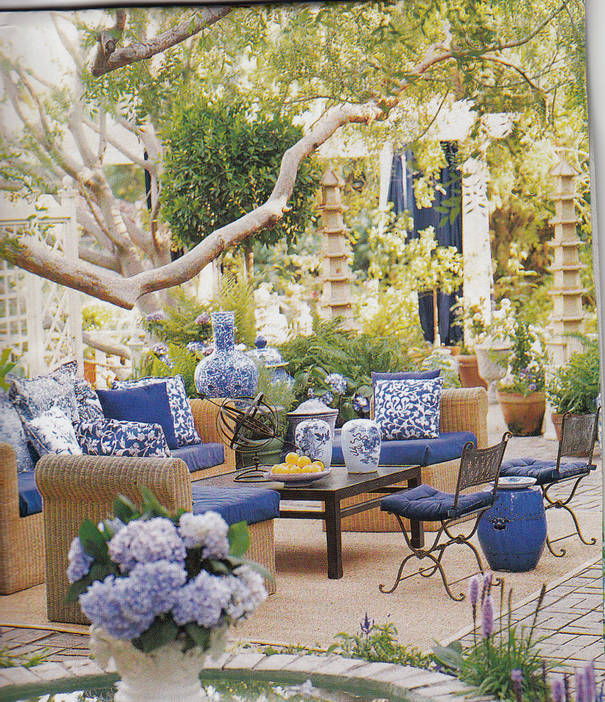 Hydrangea Hill Cottage French Country Decorating: Hydrangea Hill Cottage: Blue And White Outdoors Room