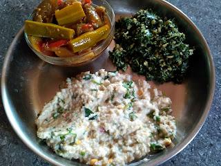Little millet Curd rice, Drumstick Brinjal curry, Ponnaanganni greens poriyal