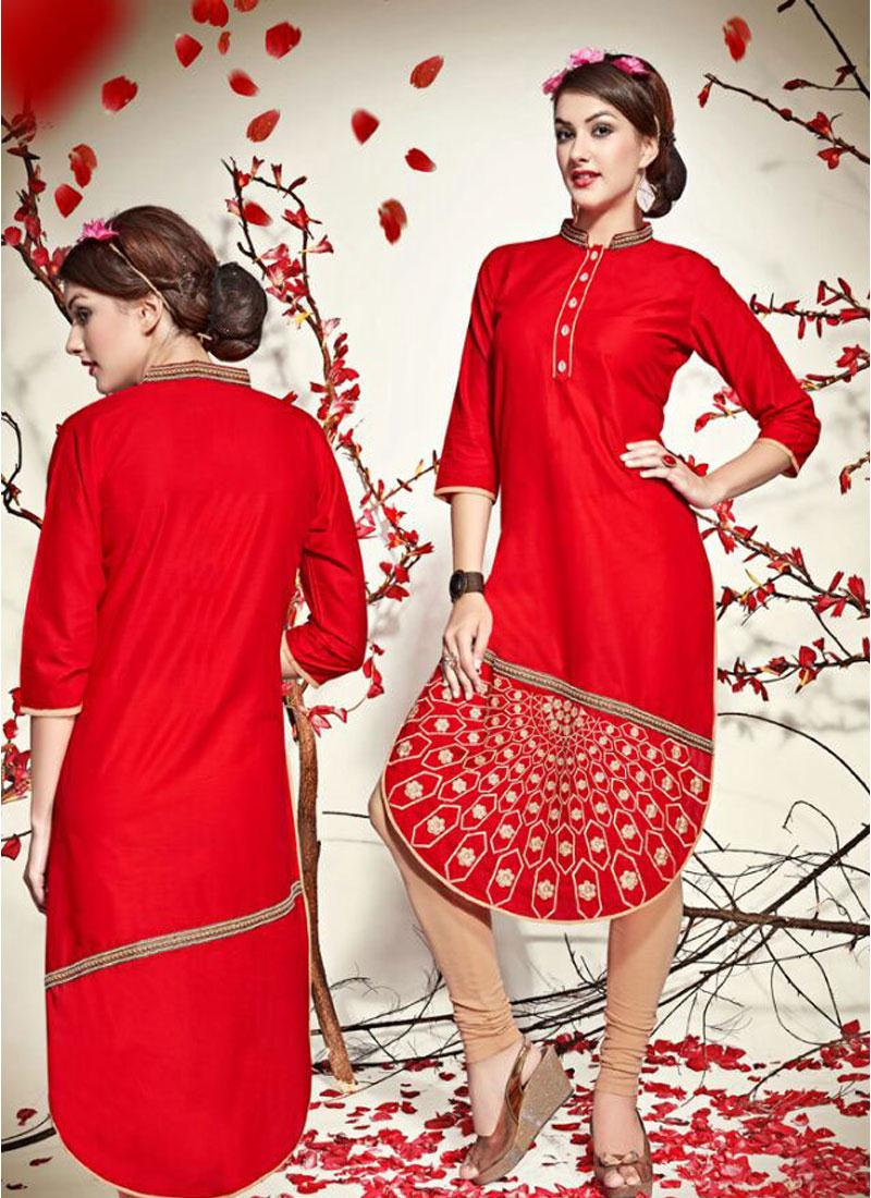 ROSY- Pure Cotton  Embroidery Work Kurti Online