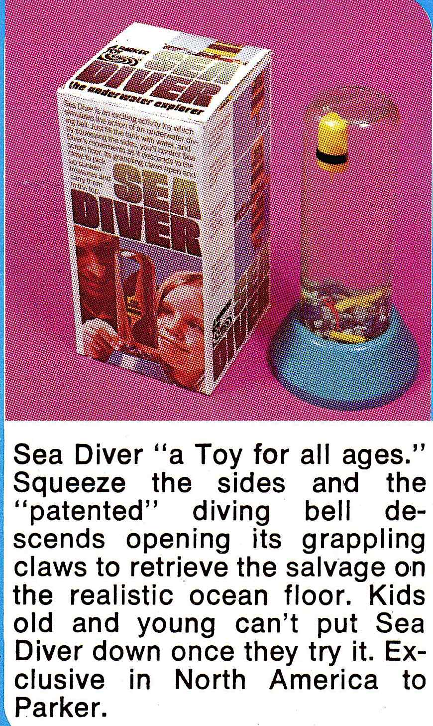 """Sea Diver""  diving bell with salvage grapple,  a 1975 toy by Parker, a color advertisement"