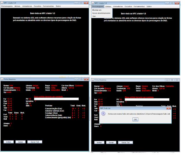 Interface do NPCcriador. Programa desktop feito em java. - setembro de 2012