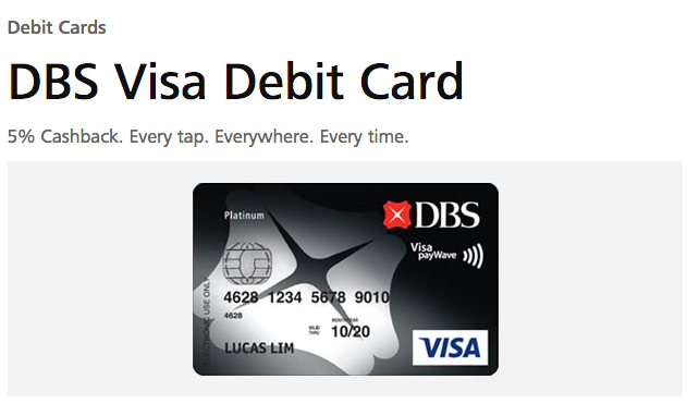 DBS Visa Debit Card - 5% Cashback