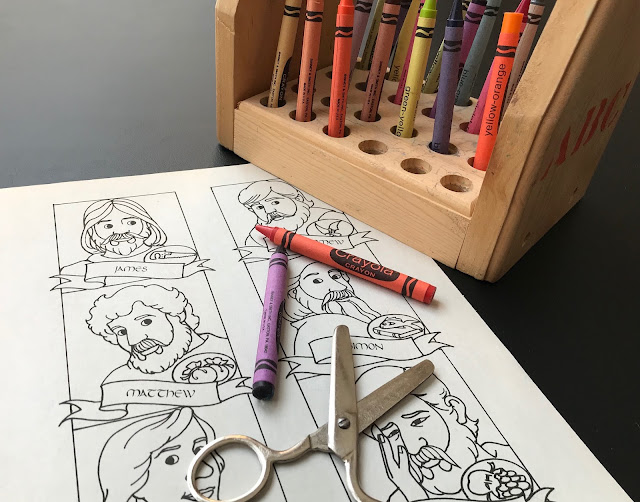 Coloring page, crayons and scissors